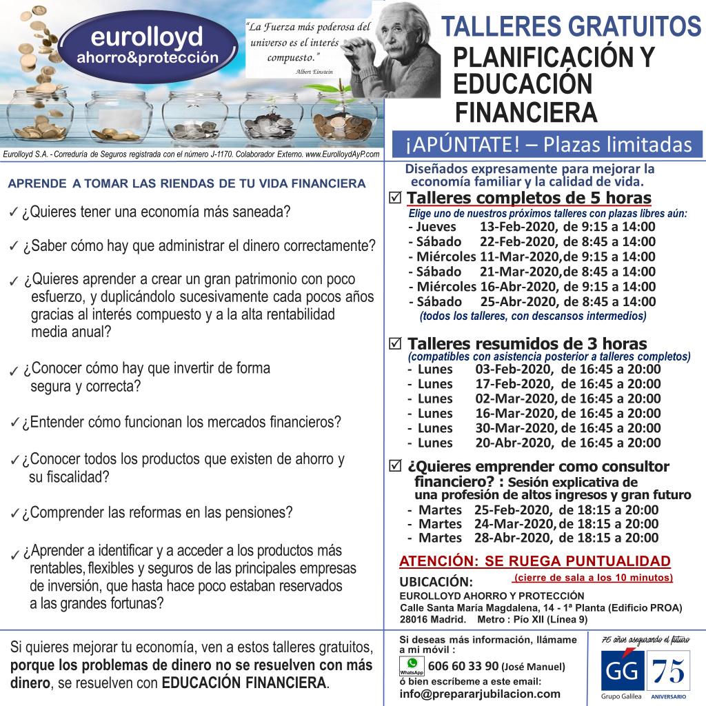 Preparar Jubilación - Talleres Gratuitos de Educación Financiera - Febrero, Marzo y Abril de 2020