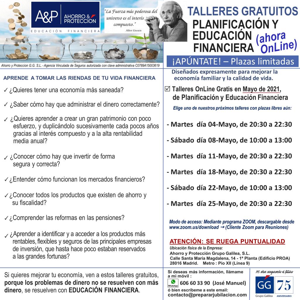 Preparar Jubilación - Talleres Gratuitos de Educación Financiera - Mayo de 2021